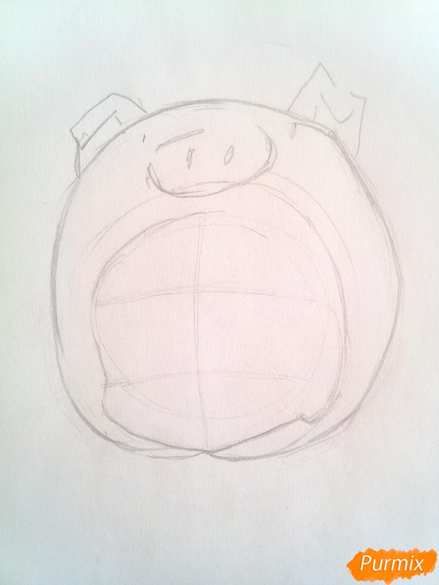 Рисуем девочку с гирляндой в костюме символа 2019 года-свиньи - шаг 2