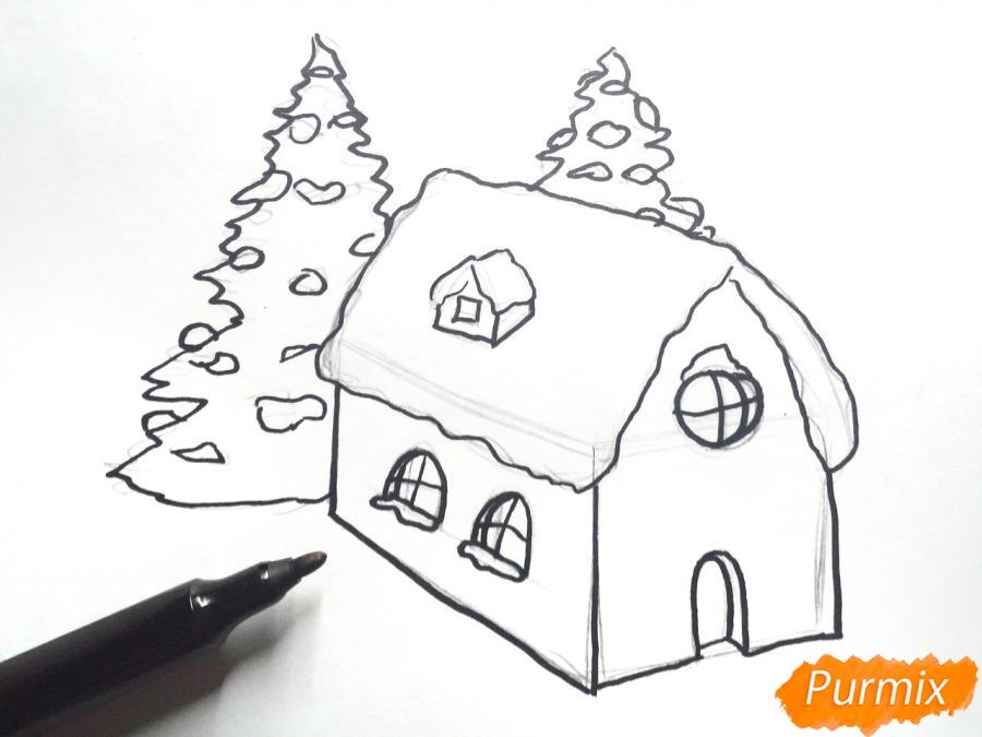 Рисуем дом Деда Мороза - шаг 4