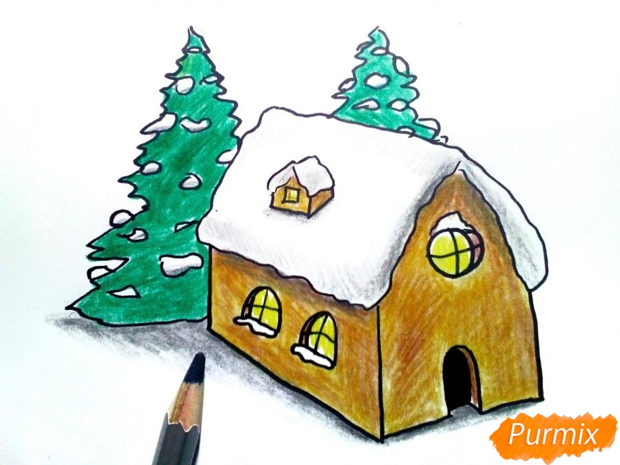 Рисуем дом Деда Мороза - шаг 6