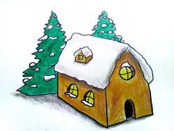 дом Деда Мороза карандашом