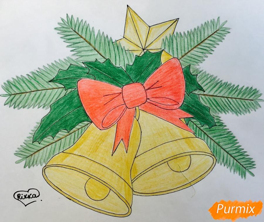 Как нарисовать открытку на новый год колокольчик