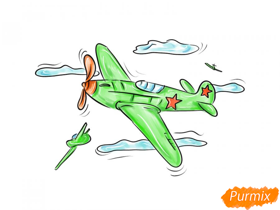 Рисуем два самолета к 9 мая - шаг 9