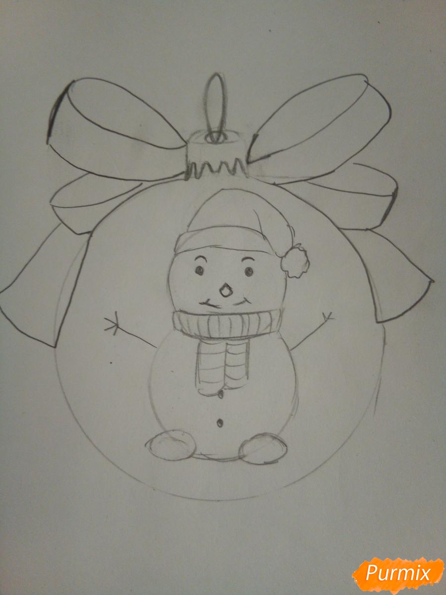 Рисуем ёлочную игрушку со снеговиком - шаг 5
