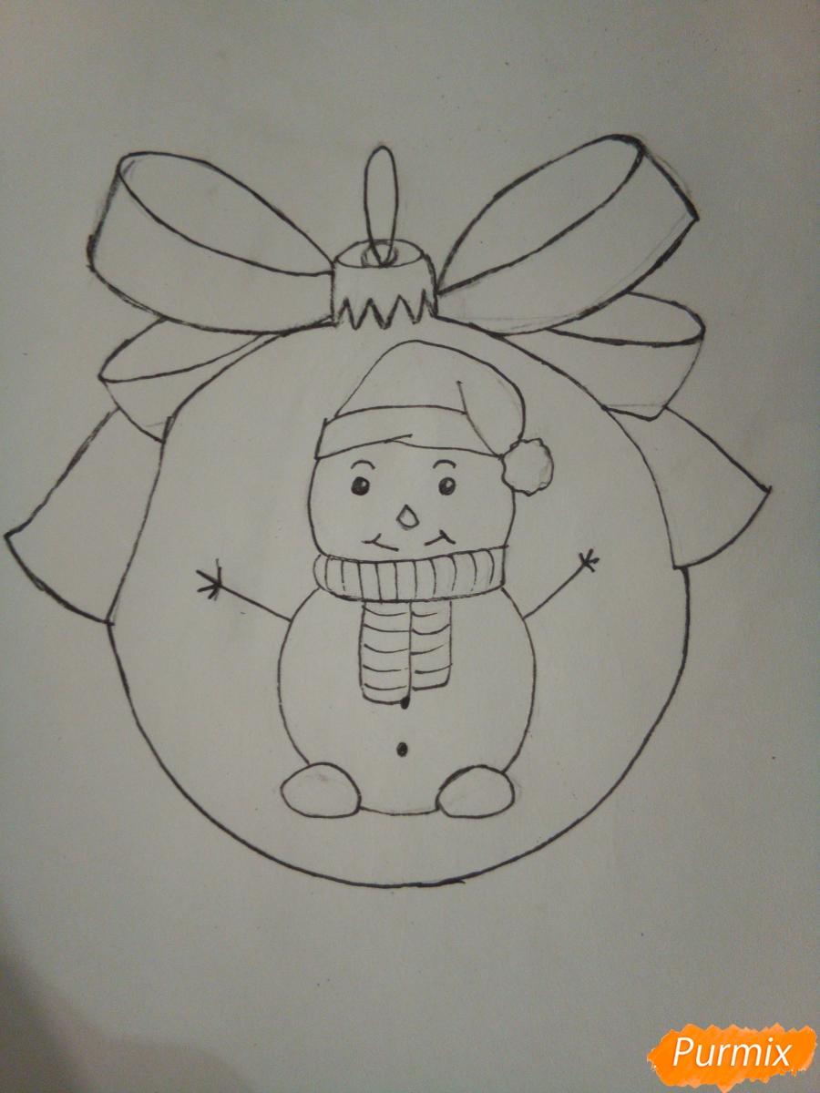 Рисуем ёлочную игрушку со снеговиком - шаг 6
