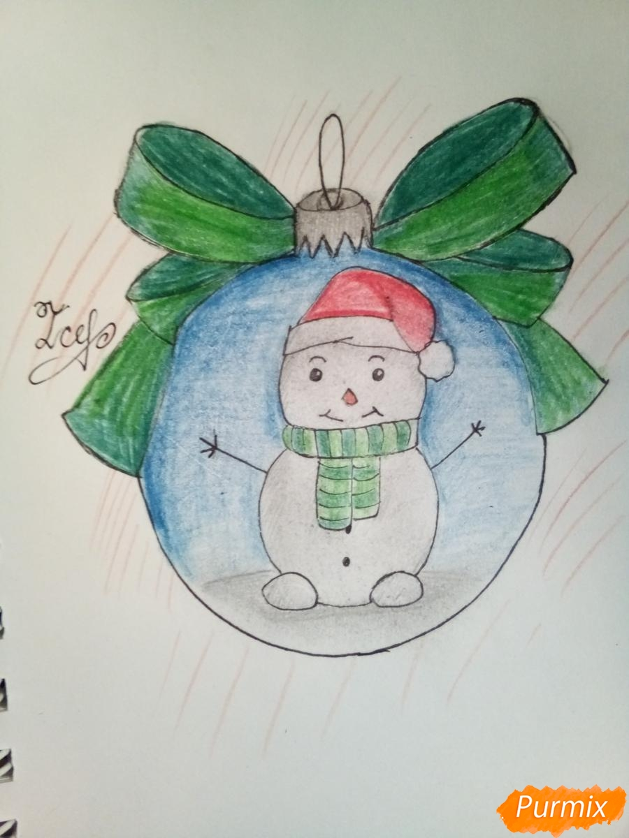 Рисуем ёлочную игрушку со снеговиком - шаг 9