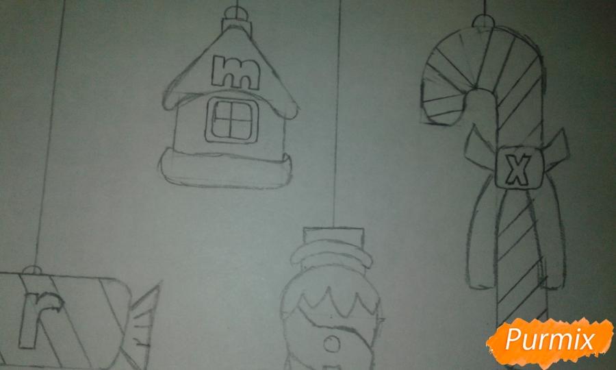 Рисуем ёлочные игрушки разных форм - шаг 17