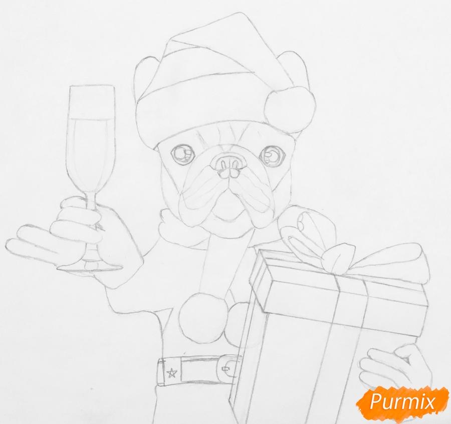 Рисуем французского бульдога с бокалом шампанского и подарком - шаг 5