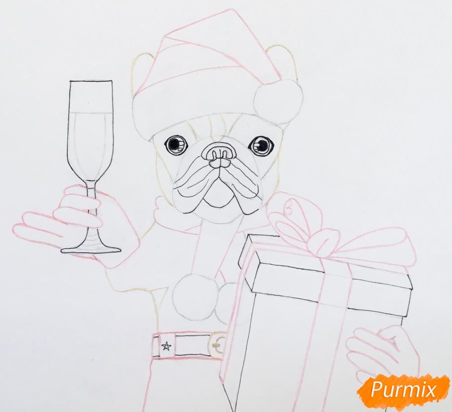 Рисуем французского бульдога с бокалом шампанского и подарком - шаг 6