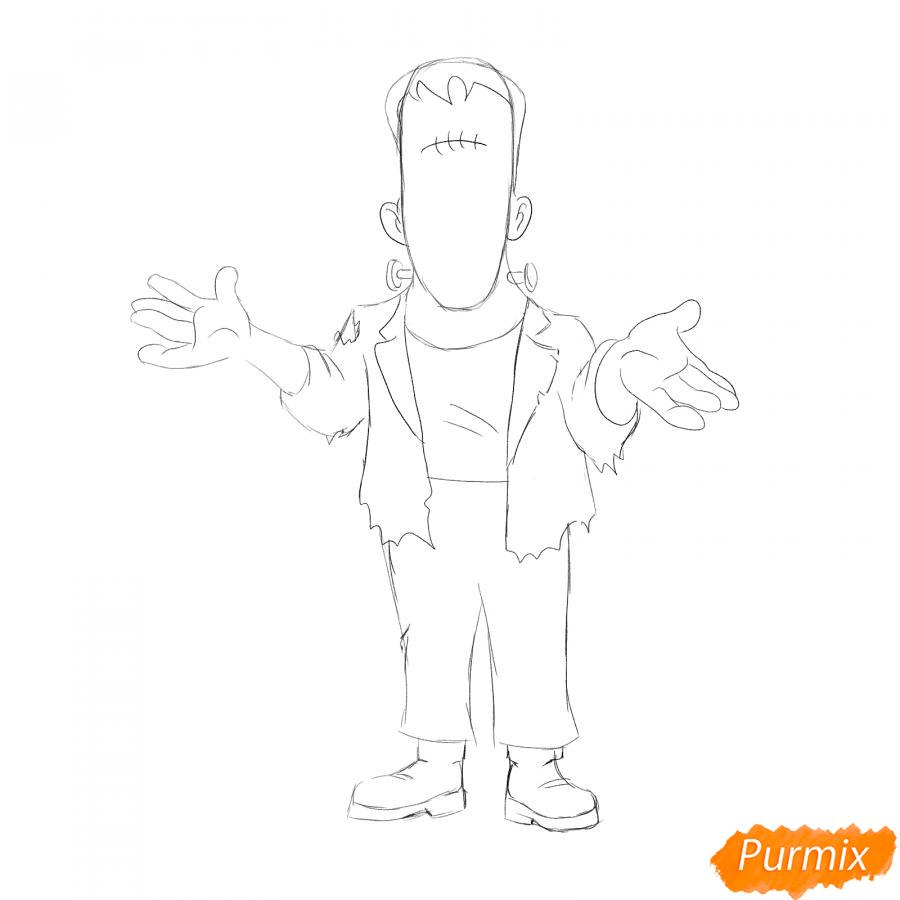 Рисуем Франкенштейна на Хэллоуин карандашами - шаг 4