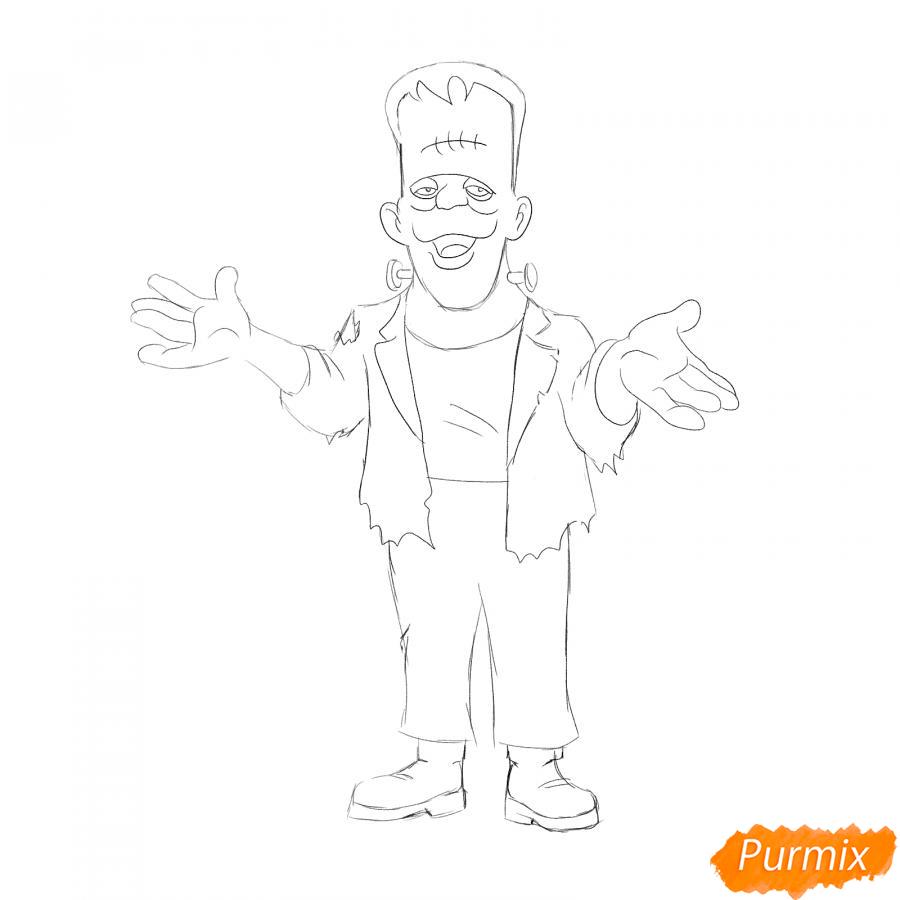 Рисуем Франкенштейна на Хэллоуин карандашами - шаг 5