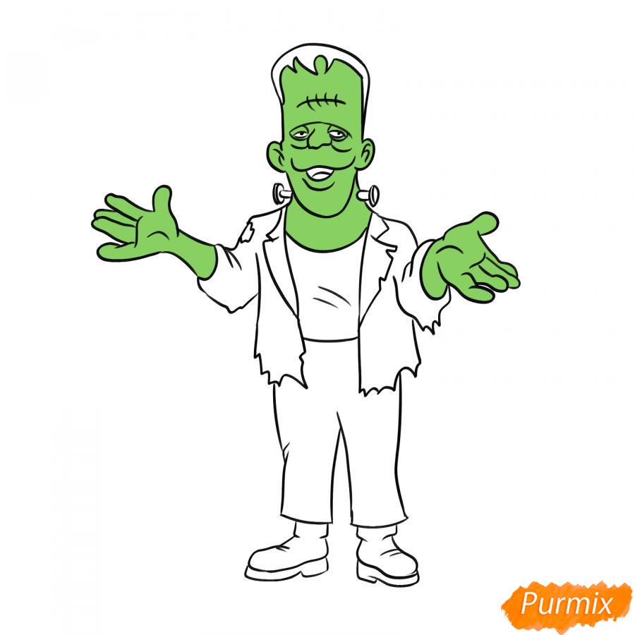 Рисуем Франкенштейна на Хэллоуин карандашами - шаг 7