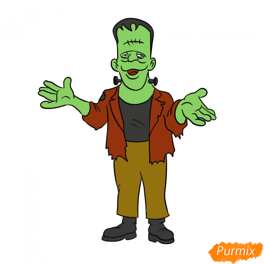 Рисуем Франкенштейна на Хэллоуин карандашами - шаг 8