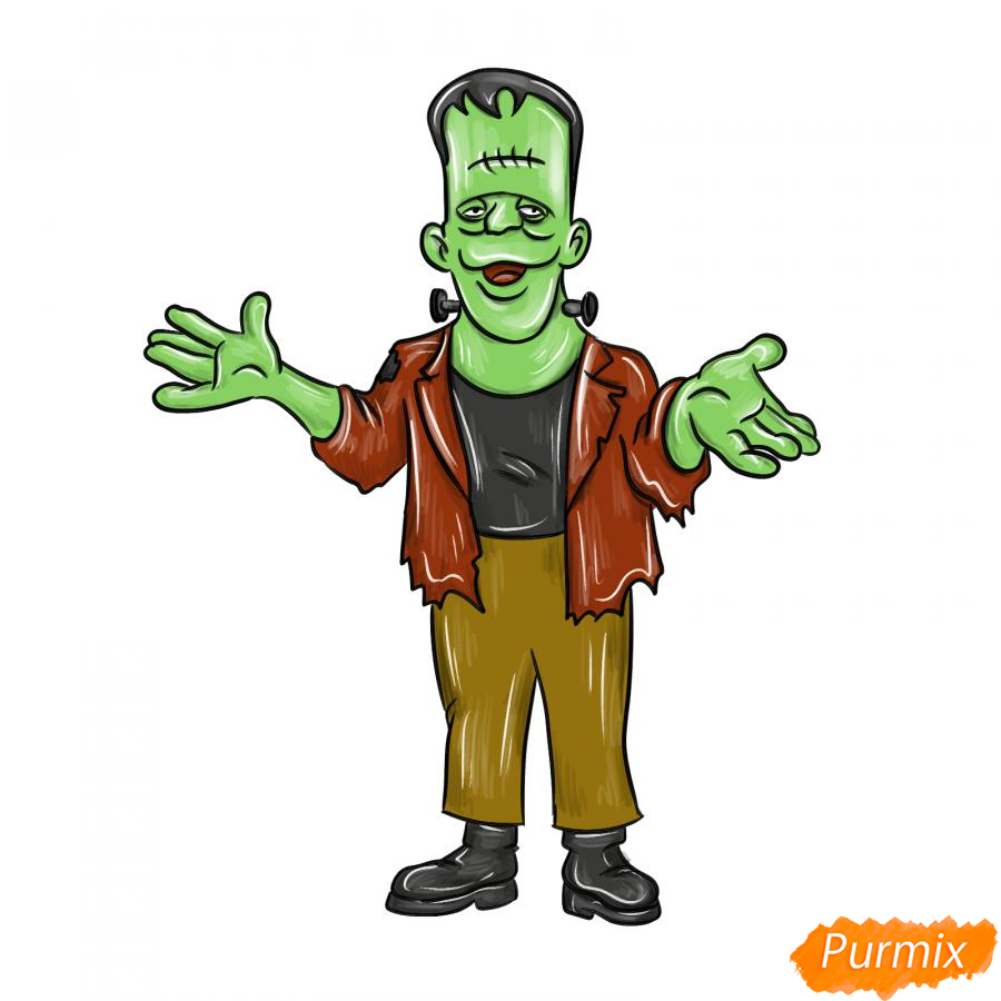 Рисуем Франкенштейна на Хэллоуин карандашами - шаг 9