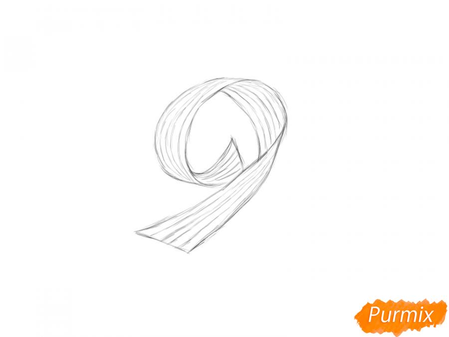 Рисуем георгиевскую ленту в виде девятки - шаг 4