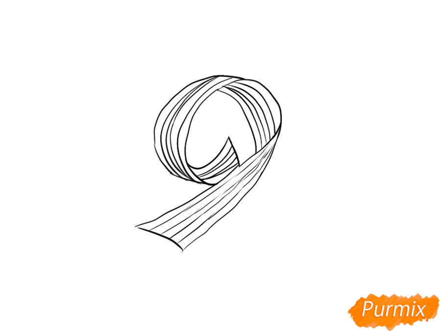 Рисуем георгиевскую ленту в виде девятки - шаг 5