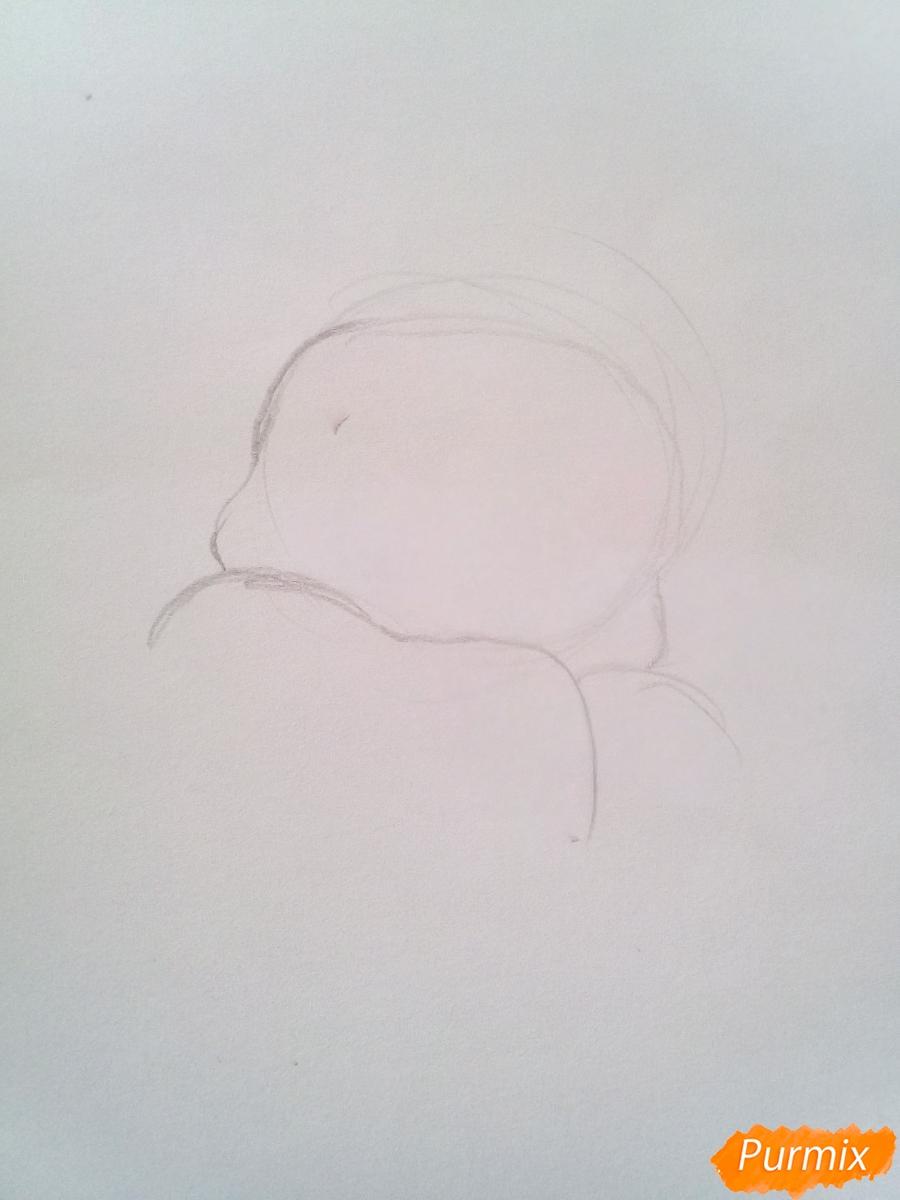 Рисуем голову Деда Мороза с пышной бородой на Новый Год - шаг 1