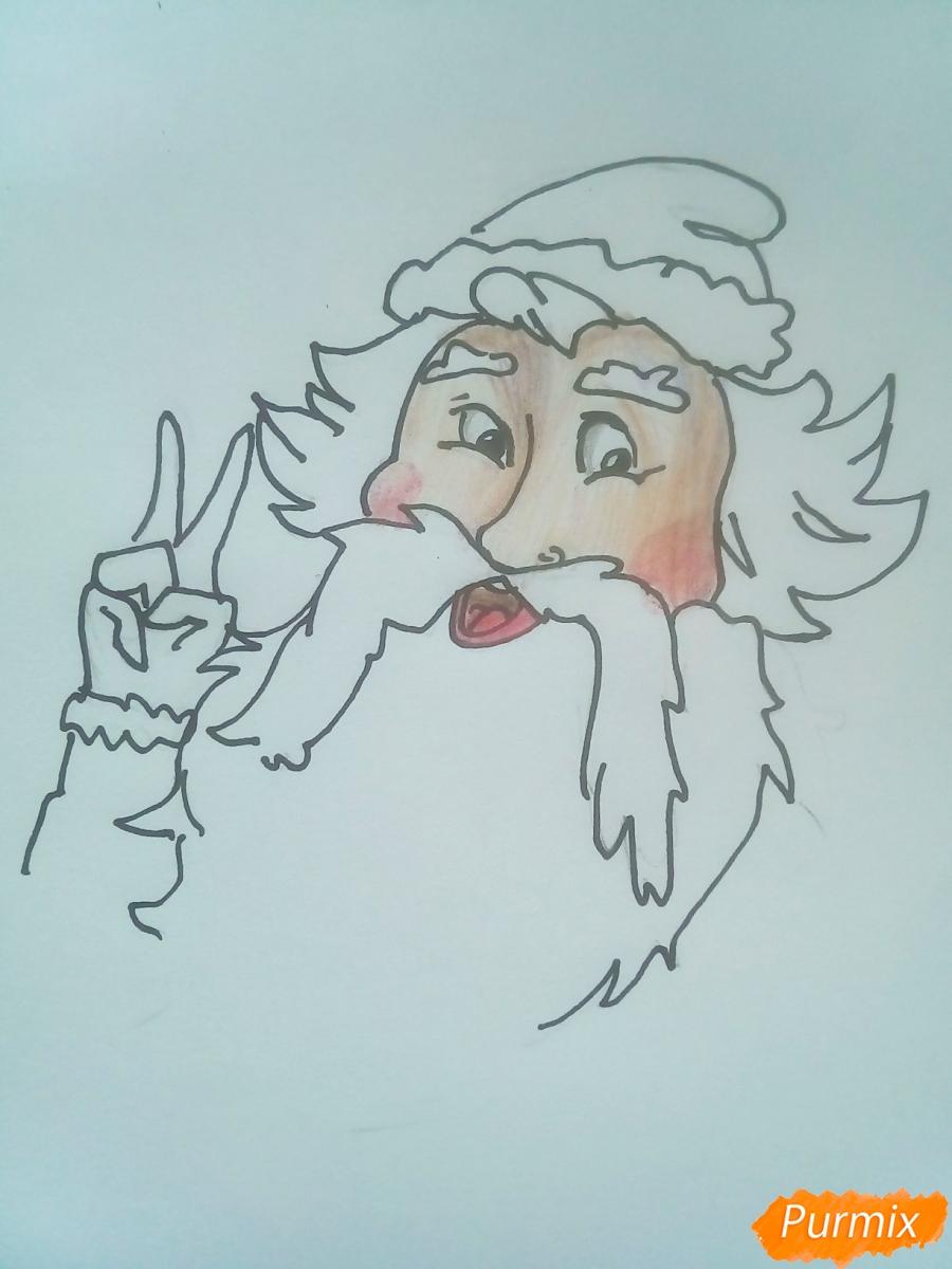 Рисуем голову Деда Мороза с пышной бородой на Новый Год - шаг 7
