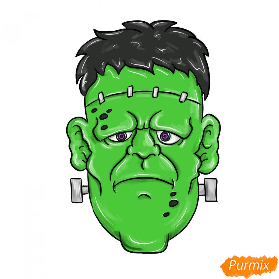 Рисуем голову Франкенштейна на Хэллоуин - шаг 10