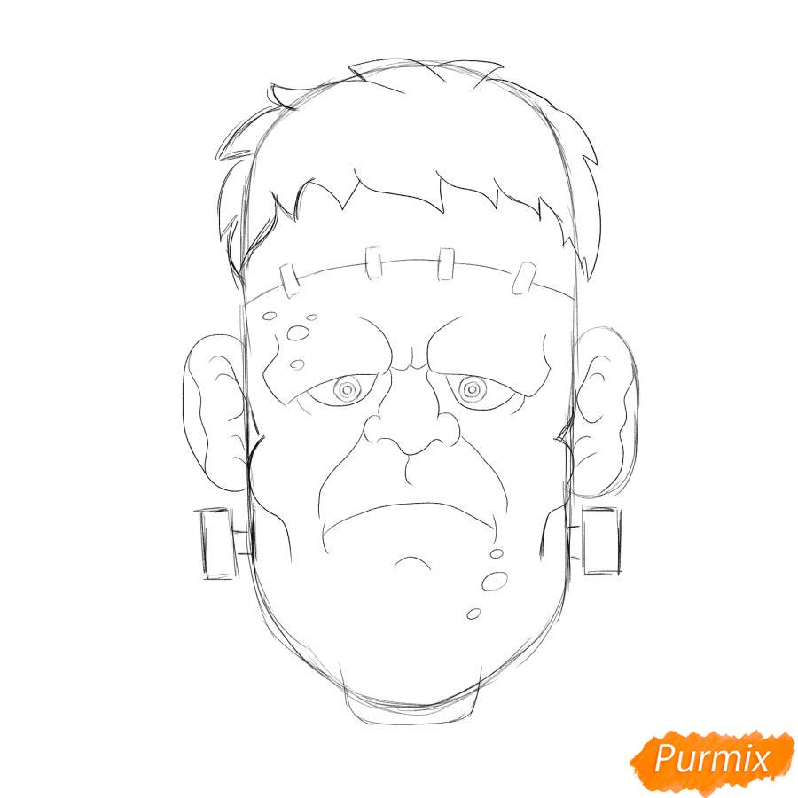 Рисуем голову Франкенштейна на Хэллоуин - шаг 4