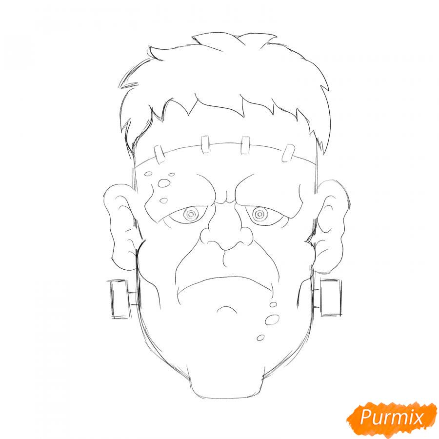 Рисуем голову Франкенштейна на Хэллоуин - шаг 5