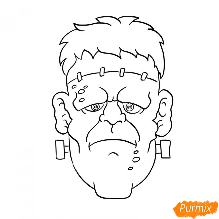 Рисуем голову Франкенштейна на Хэллоуин - шаг 6
