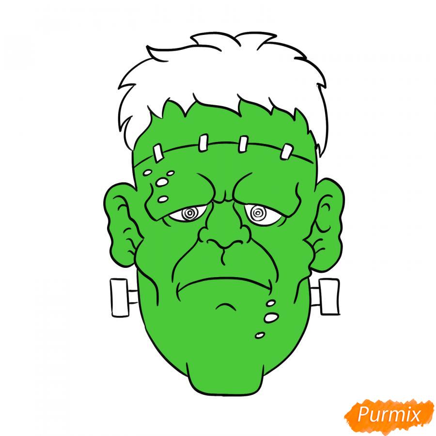 Рисуем голову Франкенштейна на Хэллоуин - шаг 7