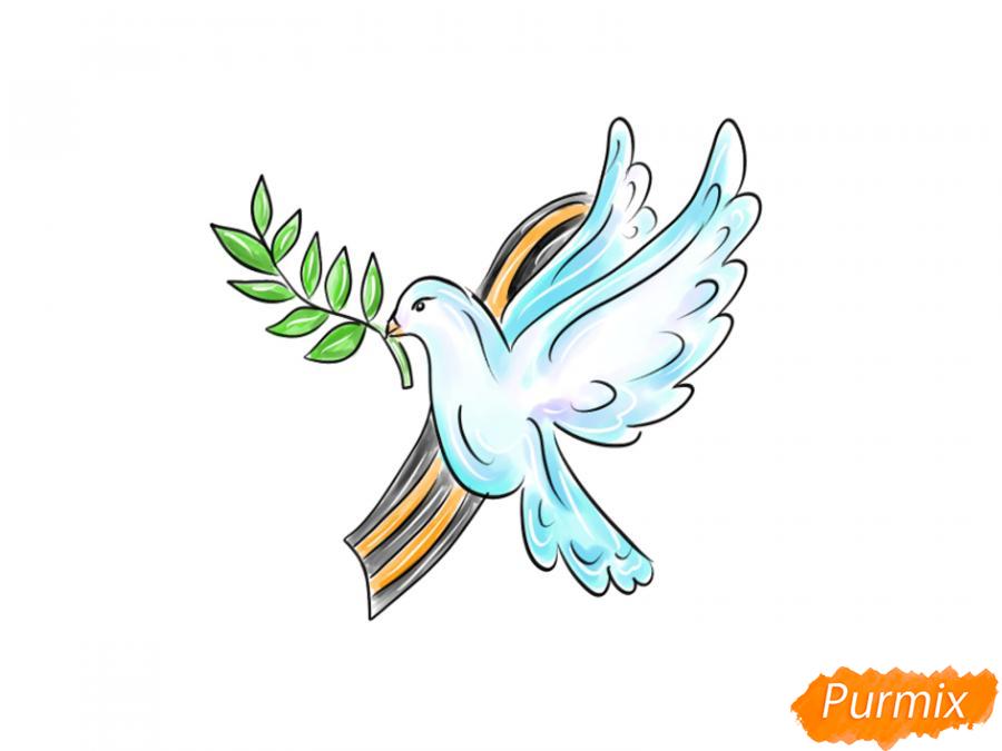 Рисуем голубя мира на 9 мая - шаг 10