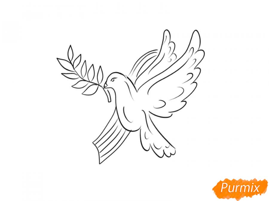 Рисуем голубя мира на 9 мая - шаг 5
