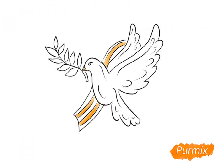 Рисуем голубя мира на 9 мая - шаг 6