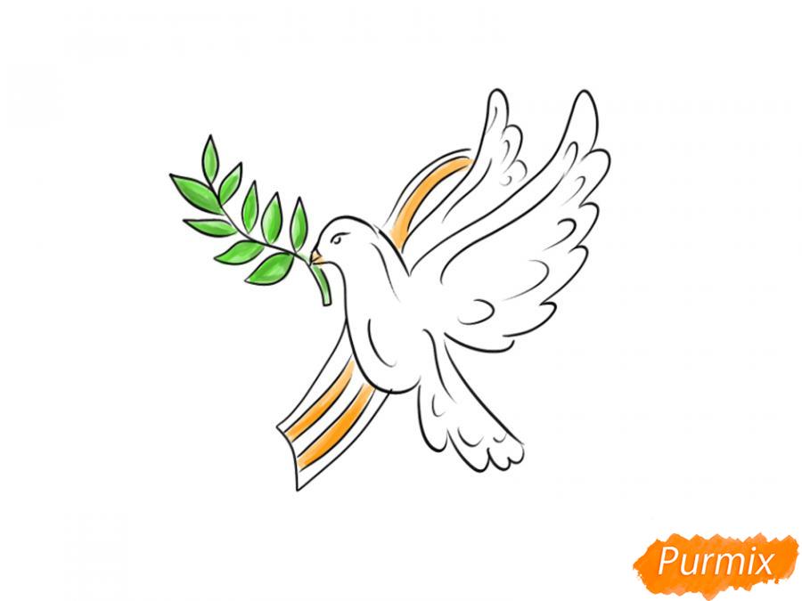 Рисуем голубя мира на 9 мая - шаг 7