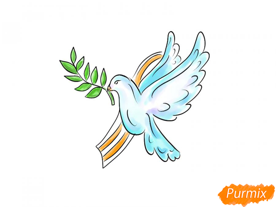 Рисуем голубя мира на 9 мая - шаг 8
