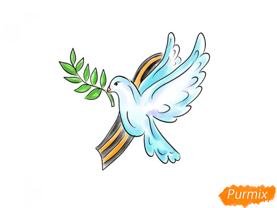 Рисуем голубя мира на 9 мая - шаг 9