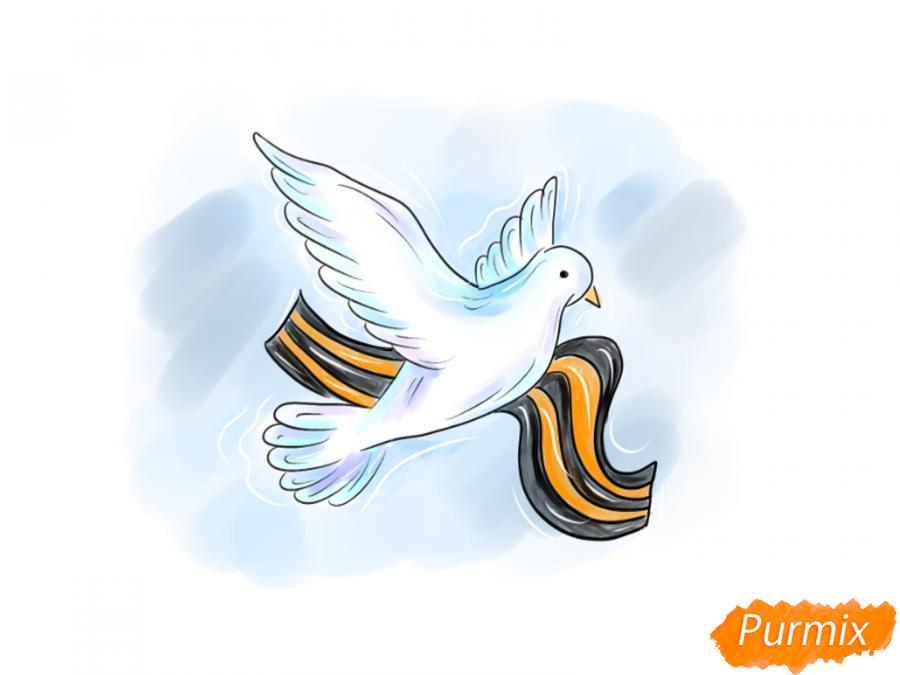 Рисуем голубя на День Победы 9 мая карандашами или гуашью - шаг 10