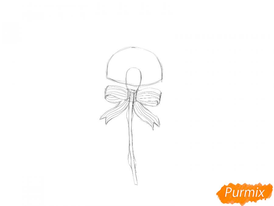 Рисуем гвоздику на День Победы карандашами или гуашью - шаг 3