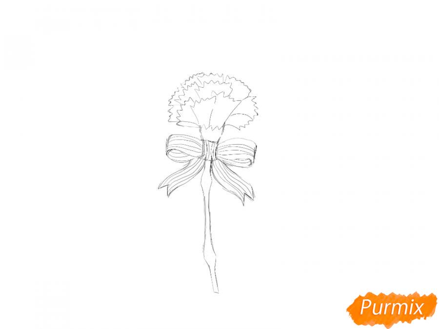 Рисуем гвоздику на День Победы карандашами или гуашью - шаг 4