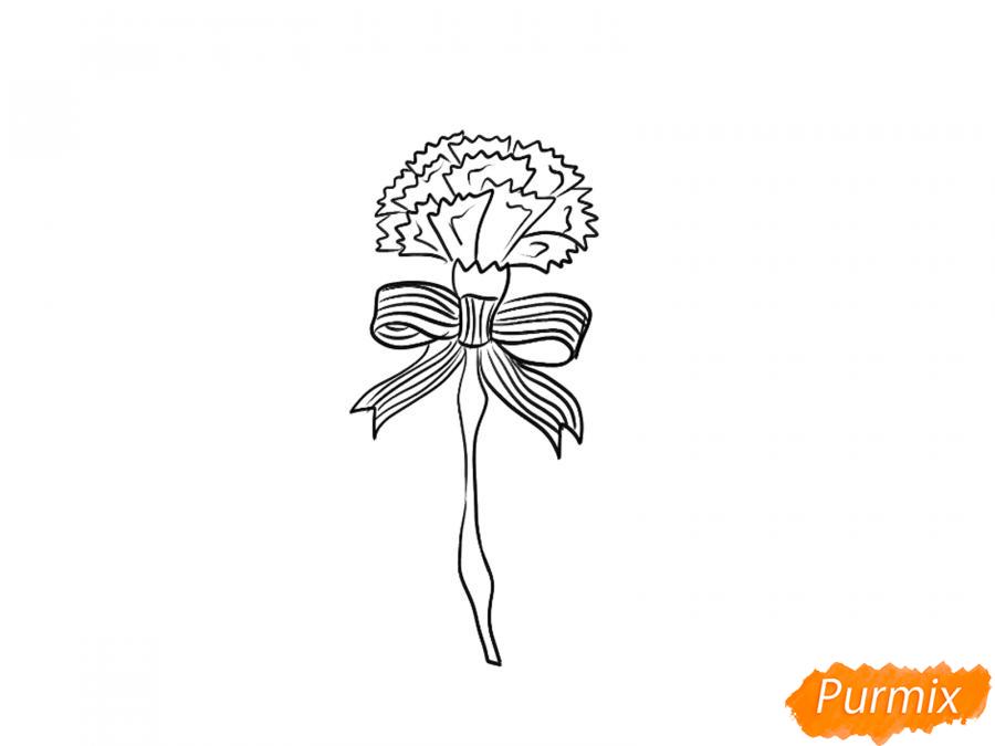 Рисуем гвоздику на День Победы карандашами или гуашью - шаг 5
