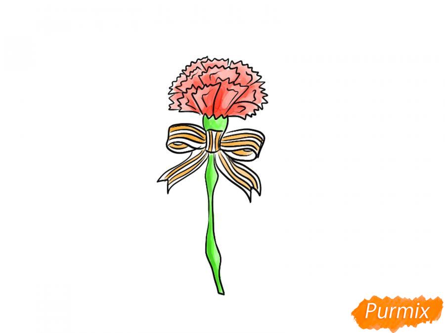 Рисуем гвоздику на День Победы карандашами или гуашью - шаг 8