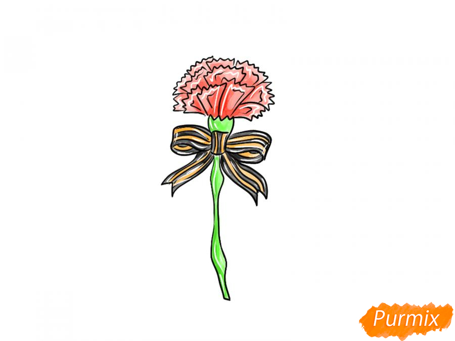 Рисуем гвоздику на День Победы карандашами или гуашью - шаг 9