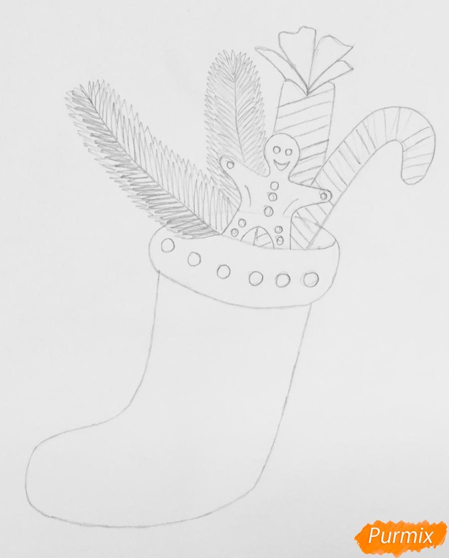 Рисуем и раскрасить носок с новогодними игрушками - шаг 4