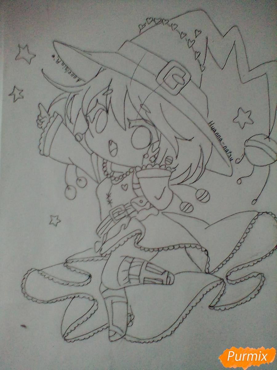 Рисуем и раскрасить Ведьму на Хеллоуин в стиле чиби - шаг 10