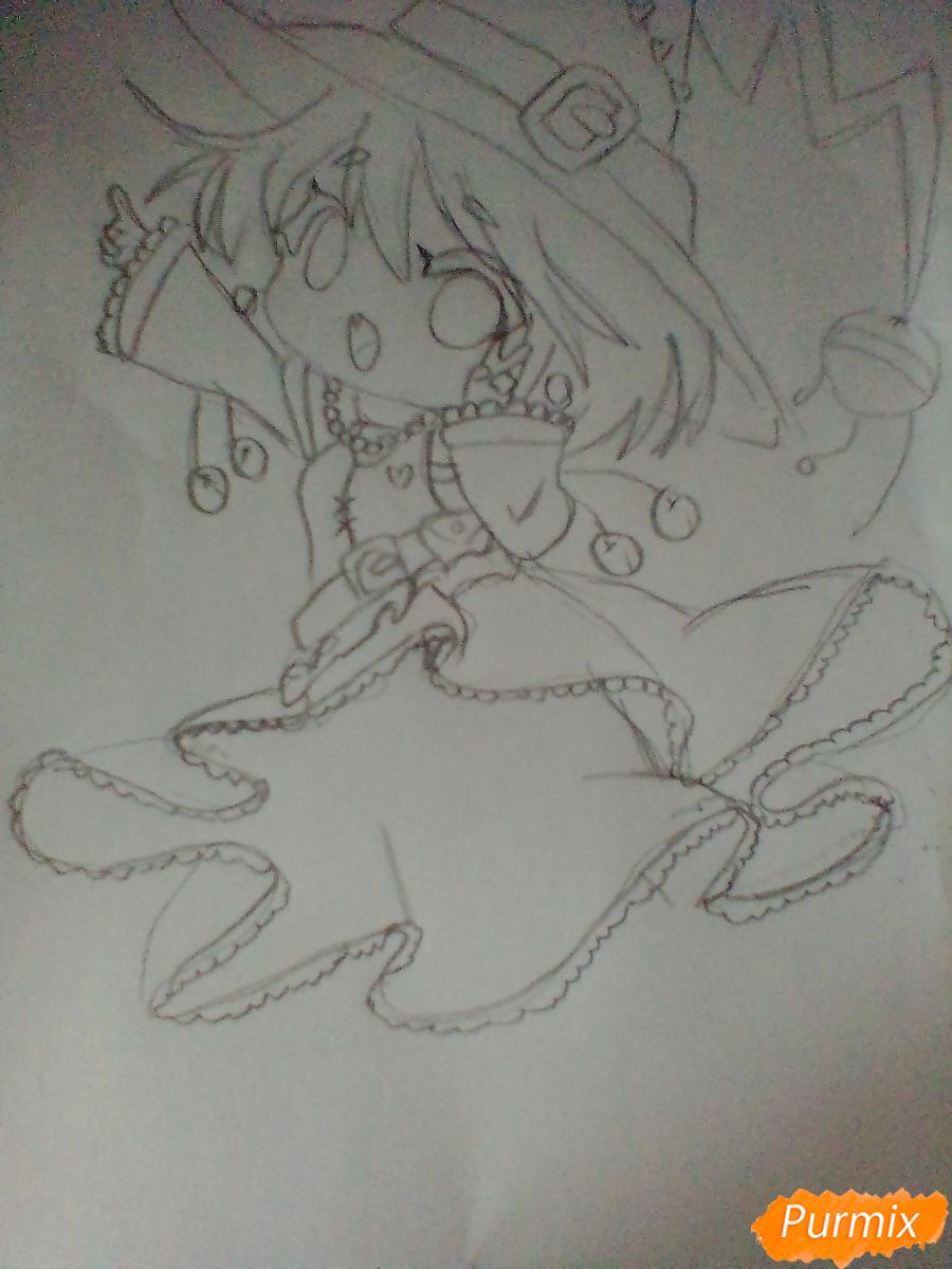 Рисуем и раскрасить Ведьму на Хеллоуин в стиле чиби - шаг 7