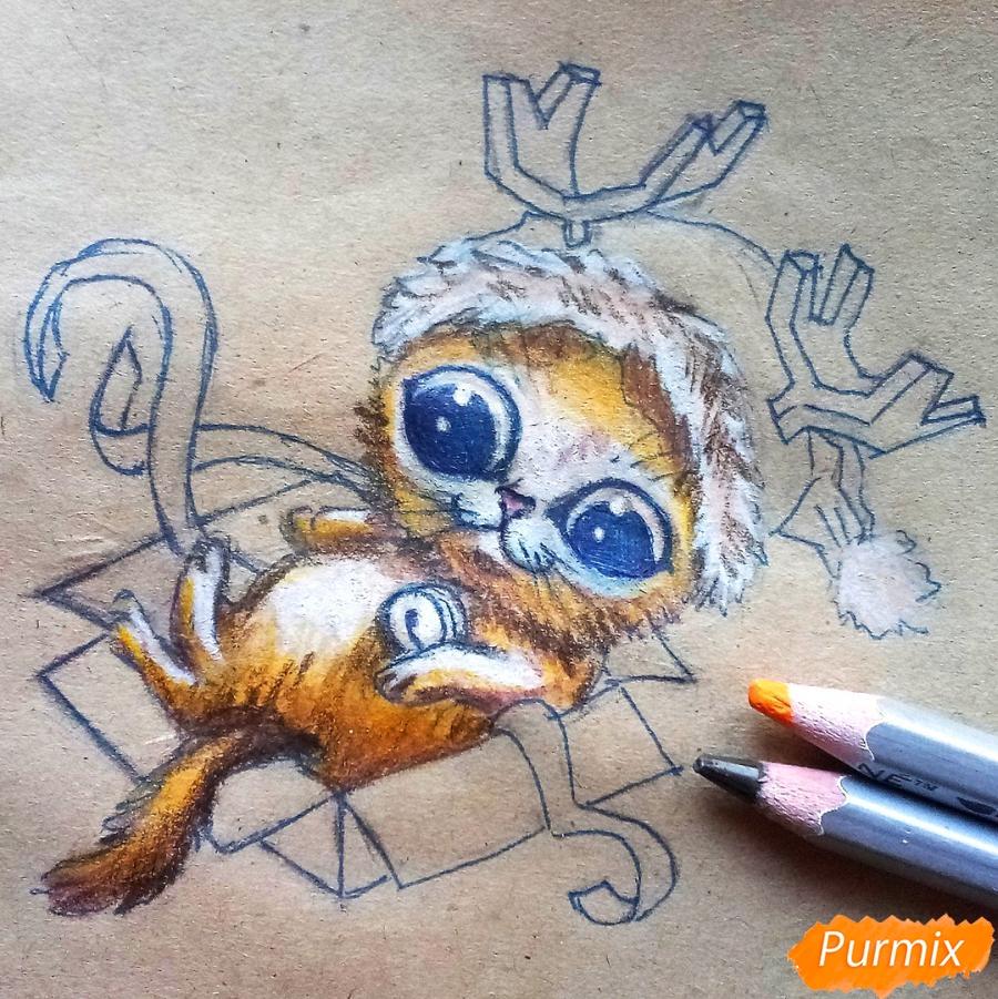 Рисуем котенка в новогоднем костюме цветными карандашами - шаг 10