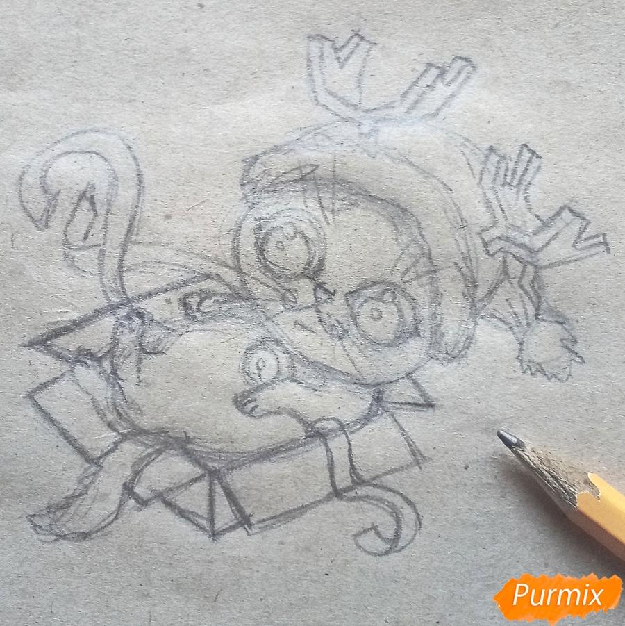 Рисуем котенка в новогоднем костюме цветными карандашами - шаг 6