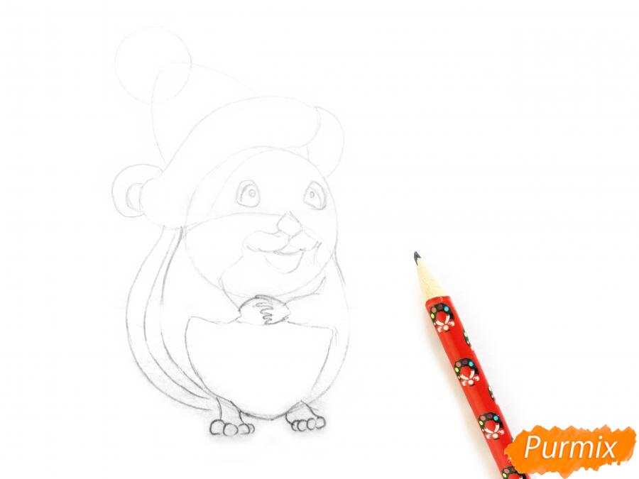 Рисуем крысу символ 2020 года карандашами - шаг 3