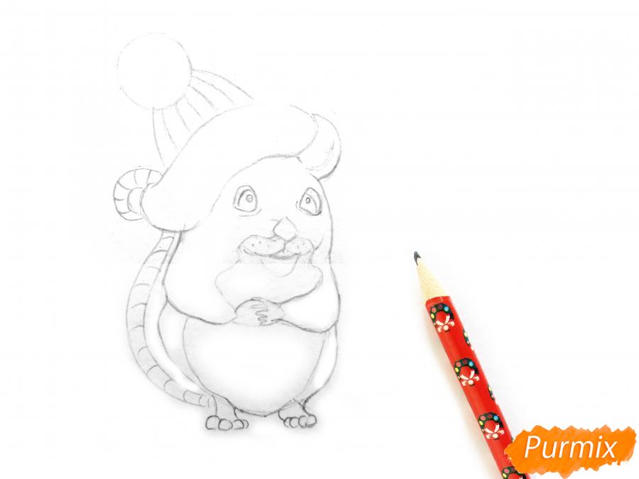 Рисуем крысу символ 2020 года карандашами - шаг 4