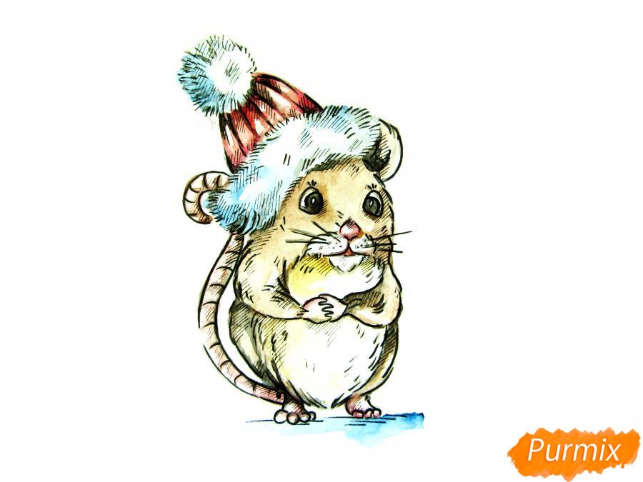 Рисуем крысу символ 2020 года карандашами - шаг 9