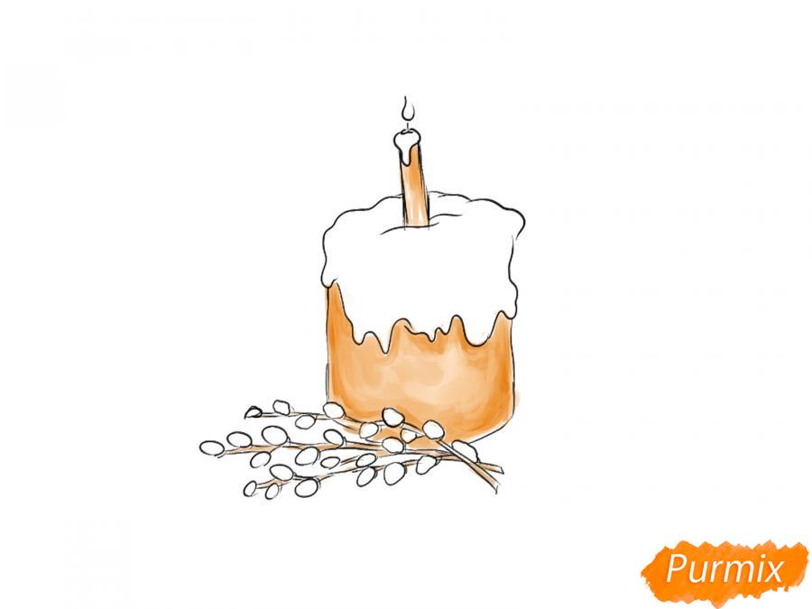 Рисуем кулич со свечей и вербой - шаг 5