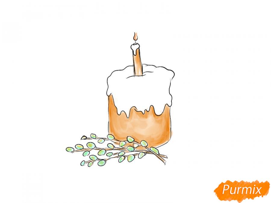 Рисуем кулич со свечей и вербой - шаг 6