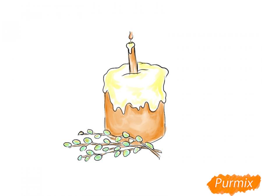 Рисуем кулич со свечей и вербой - шаг 7