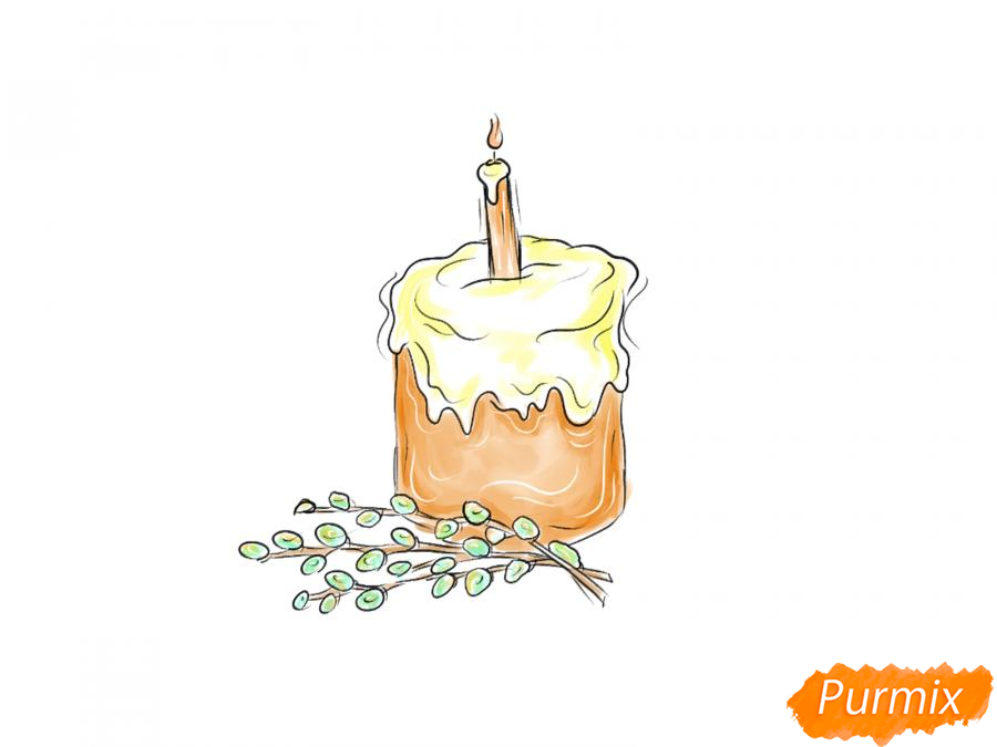 Рисуем кулич со свечей и вербой - шаг 8